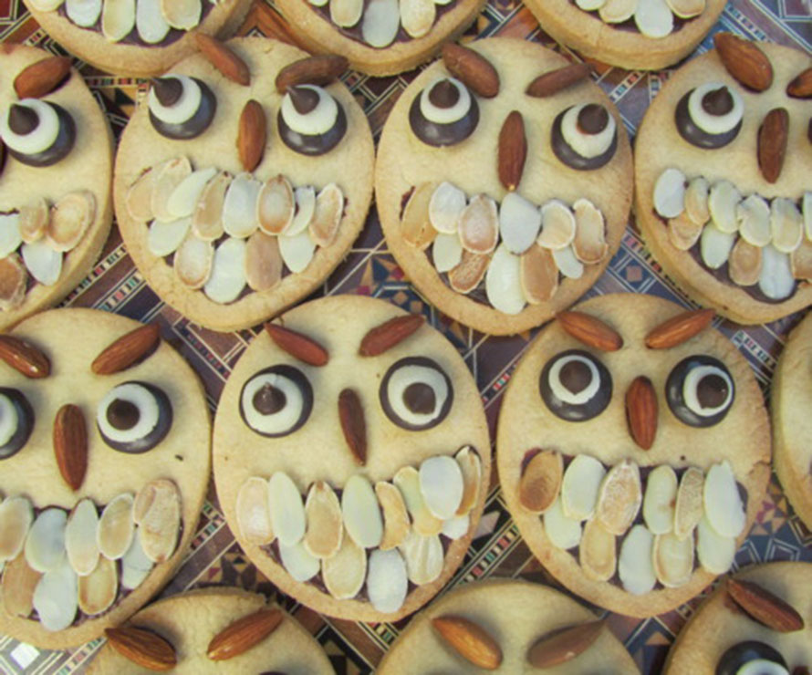 Almond shortbread owls